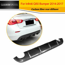 Carbon Fiber Black Rear Diffuser Lip Fit for Infiniti Q50 Sedan 4Doors 2014-2017