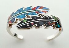 """INCREDIBLE MULTICOLOR CELESTIAL INLAY .925 SILVER CUFF LEAVES BRACELET 6-3/4"""""""
