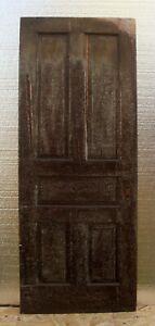 """30""""x79"""" Antique Vintage Victorian Old SOLID Wood Wooden Interior Door 5 Panels"""