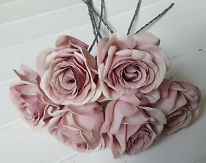 Bunch of Artificial Dusky Pink Roses with 6 heads per bunch for Wedding or Decor