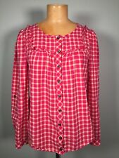 Anthropologie Holding Horses Pink Plaid Button Up shirt Ruffle Detail Size 0