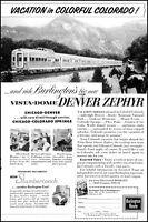 1958 Burlington route railroad zephyr Colorado vista-dome Photo Print Ad  ads21