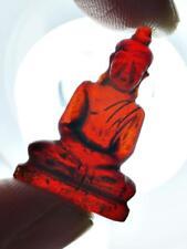 9102 AMULET LEKLAI NAGA EYE MEDITATION BUDDHA MINIATURE QUARTZ CRYSTAL STONE RED