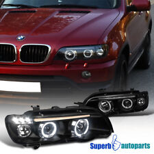 2001-2003 BMW X5 Dual Halo Black Projector Headlights Head Lamp w/ LED Lamps