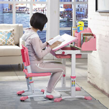Adjustable Children Kid's Study Art Desk Table Student Chair Set Bookrack Pink
