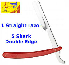 BARBER STRAIGHT CUT THROAT SHAVING RAZOR SHAVETTE RED HANDLE + 5 Free Blades