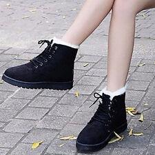 Botines Zapatos Mujer Invierno Casual Gamuza Sintética Piel Cordones Botas Nieve