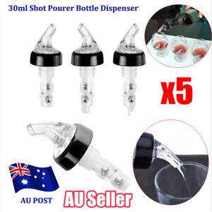 5x DISPENSER BOTTLE STOPPER LIQUOR SPIRIT POURER NIP BAR SHOT 30ml ALCOHOL D1