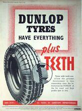 2 x 1938/9 Dunlop 'FORT' Original Car Tyre Adverts - Vintage Auto Tire Print ADS