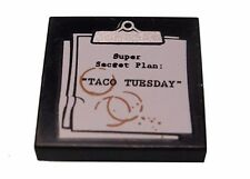 "LEGO - Tile 2 x 2 Clipboard w/ 'Super Secret Plan ""TACO TUESDAY"" & Coffe Stains"
