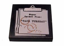 "LEGO - Tile 2 x 2 Clipboard w/ 'Super Secret Plan ""TACO TUESDAY"" & Coffe Stains"