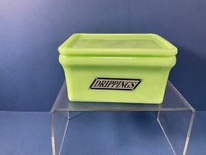 """Jadeite Green Glass, Refrigerator Drippings Dish w/ Lid,  5"""" x 4"""" x 2 5/8"""""""