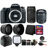 Canon EOS 77D 24.2MP DSLR Camera + 18-55mm + 75-300 + 64GB Accessory Kit