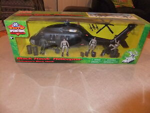 Elite Force Black Hawk Helicopter+4 Action Figure Motorcycle1/18 scale new