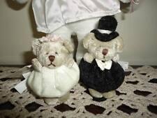 Russ Berrie Miniature Bride & Groom Bears / Bridal Dog Stuffed Plush Lot of 3