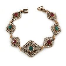 Vintage Inspired Turkish Style Crystal Filigree Bracelet In Bronze Tone (Clear,