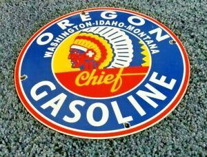 VINTAGE OREGON GASOLINE PORCELAIN SERVICE STATION PUMP INDIAN CHIEF SIGN