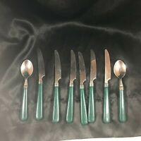 8 Piece Lot of Vintage Green Handle Flatware