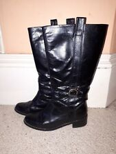 Ladies Barratts Black Leather Knee Boots - Size 6