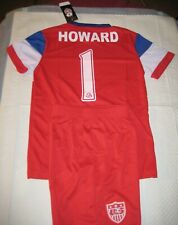 USA Soccer Jersey & Shorts Kids Set RED WHITE and BLUE  Tim Howard size 8