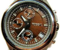 Fossil Decker Brown Chronograph Date Glo WR 10 atm New Batt NWOT Woman Watch