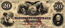 $20 MANUFACTURERS BANK AT MACON GA OBSOLETE NOTE, JUNE 3 1862 (CIVIL WAR ERA)