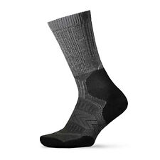 2pr THORLO Outdoor Fanatic Athlete Socks SZ  XL Silver Fox Grey / Black ofxu