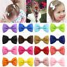 2PCS Kids Ribbon Mini Barrettes Girls Baby Bowknots Bow Hair Clip Pins Hairpins