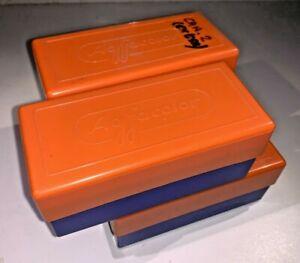 Vintage Agfacolor orange & blue Slide Boxes from 1980s - fair condition, classic