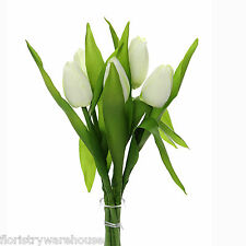 Artificial silk cream green Tulips spring flowers 6 stems 35cm tight flower