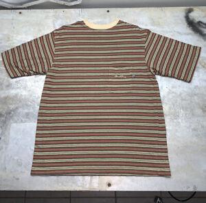 Vintage Bad Boy Club Shirt Mens Large Hip Hop Skate All Over Striped Pocket 90's