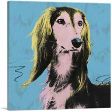 Artcanvas Saluki Dog Breed Blue Yellow Pink Pop Art Canvas Art Print