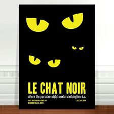 "Vintage French Poster Art ~ CANVAS PRINT 36x24"" Le Chat Noir black cat eyes"
