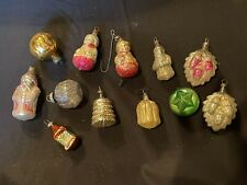 12 Vintage Feather Tree Mercury Glass Christmas Ornaments