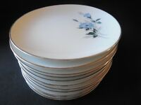 Noritake Sylvia 6603 Bread & Butter Plates Set Of 2 Blue Floral On White W/ Rim