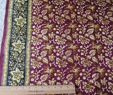 "French Antique Never Used Ethnic Printed Dress Silk Fabric Yardage~L-100""X W-34"""