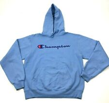 CHAMPION Sweater Hoodie Size Small S Blue Pullover Hooded Long Sleeve Spell Out