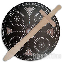 ROUND WOODEN CLAN BUCKLER SOLDIER SHIELD & WOODEN SWORD ROLE PLAY TOY
