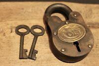 Antique Vintage Style Cast Iron Colt Firearms Ammo Box Padlock Lock & Key