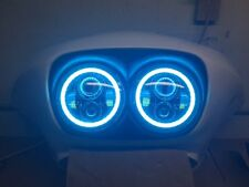 LED Daymaker Headlight Set with Blue Rings for Harley Davidson Road Glide FLTR