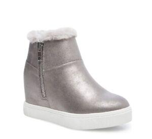 STEVE MADDEN SZ 2 Big Girls JAWANDA-F PEWTER sneaker sole and faux fur lining