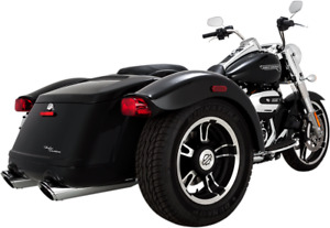 "Vance & Hines Pair Chrome 4"" Exhaust Mufflers for 17-18 Harley Freewheeler FLRT"