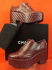 NIB CHANEL BURGUNDY QUILTED LASER CUT LACE UP CC LOGO WEDGE HEEL OXFORDS 39.5