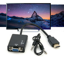 1080P HDMI Male to VGA With Audio HD Video Cable Converter Adapter for PC avi