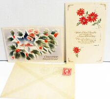 2 Antique  Embossed 1914 1 Christmas cards in mailing envelop & 1 without  A1270