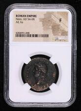 NERO AE AS 54 - 68 AD ROMAN EMPIRE ANCIENT COIN TEMPLE OF JANUS DOORS CLOSED ...