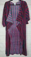 Lularoe Women's Shirley Turquoise & Fuchsia Striped Sheer Kimono Size M NWT