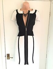 Stunning Karen Millen short Sleeve black/white pleated Pencil Dress Size 12