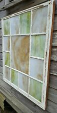 VINTAGE SASH ANTIQUE WOOD WINDOW FRAME CHURCH SHABBY RUSTIC STAINED GLASS 39x24