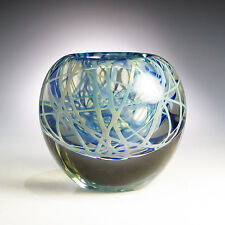 Limited Edition Blue Silver Swirled Art Glass Vase 1980 by Michael Cohn
